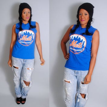Vintage 1990s Paper thin blue NEW YORK METS  baseball sportswear short sleeve muscle tshirt tank top