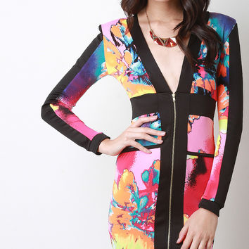 Floral Abstract Print Zipper Front Bodycon Dress