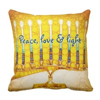 """Peace Love & Light"" Yellow Hanukkah Menorah Photo Throw Pillow"
