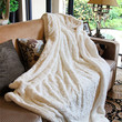 Throw Blanket 63x87 Luxury White Roses PV Faux Fur with Sherpa Throw Blanket from DaDa Bedding