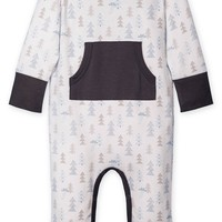 Kangaroo Romper (Forest on White) by Feather Baby