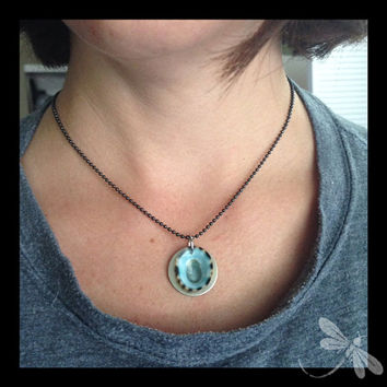 Aqua Limpet Shell on a Nickel Silver Washer and Gunmetal Ball Chain, metal and shell necklace  N49