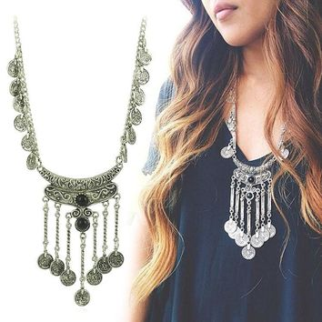 New fashion Bohemian Boho Jewelry Antique Silver Tassels Pendant Long Carving Coins Necklace For Women Fine Jewelry