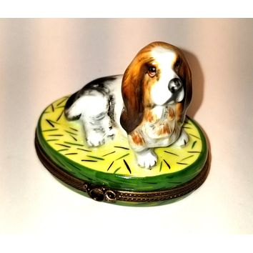 Basset Hound Dog- 1 of 500 First One Made of Retired Rare Limoges Box