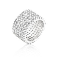 Silvertone Finishd Wide Pave Cubic Zirconia Ring, size : 05