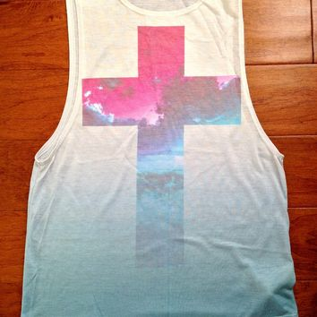 Forever 21 Ombre Cross Print Muscle Tank