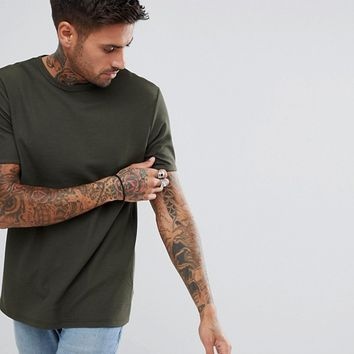River Island Waffle Muscle Fit T-Shirt In Khaki at asos.com