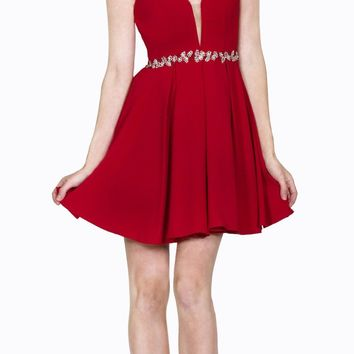 Red Short Cocktail Dress Embellished Waist Sheer Inset V-Neck