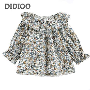 Baby Long Sleeve Shirts Girls Print Cotton Tops Kids Ruffles Blouses  Spring Autumn Girls Peter pan Collar Blouses