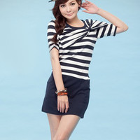 YHLC Striped Short Sleeve Korean Round Neck Cotton Mini Dresses - DinoDirect.com