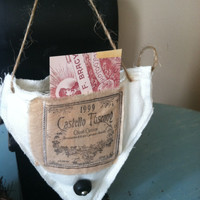 Flour sack sachet, old world decor, cone basket, small banner,