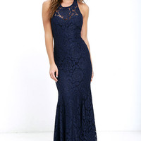 Live Forever Navy Blue Lace Maxi Dress
