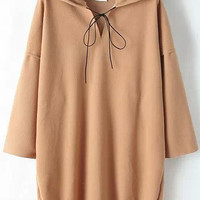 Khaki Hooded Long Sleeve Sweatshirt