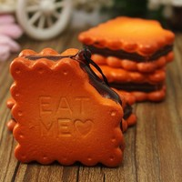 1PC Kawaii Sandwich Biscuit Cookie Squishy Bread Keychain Bag Phone Charm Strap