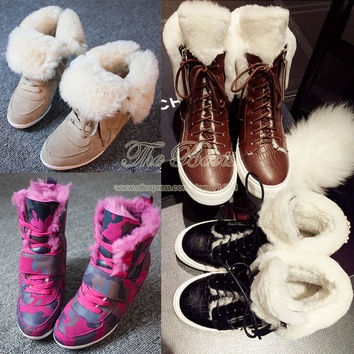 2014 Winter New Fashion Sneakers For Women High Heel Hidden Wedges Genuine Leather Real Fur Suede Sheepskin Snow Ankle Boots