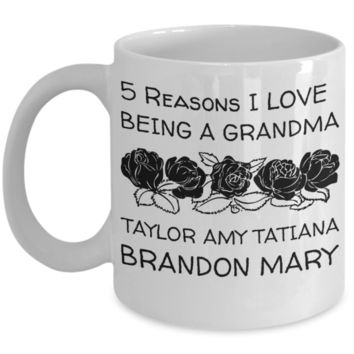 Holiday Morning Mug - White 11 oz Grandma Cup - Personalized Grandkids Name Gift - Perfect for Cocoa, Milk, Cookies & Candy - Personalization Gift For Nana & Mimi