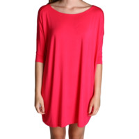 Fuchsia Piko Tunic Half Sleeve Dress