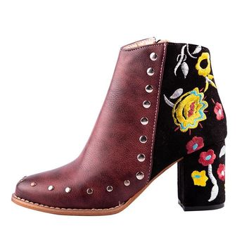 Women Embroider High Ankle Shoes Boots Wine Red Flock PU Leather  Zipper Rivet Flower Shoes