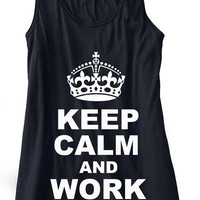 Keep Calm and Work Out Train Gym Tank Top Flowy Racerback Workout Custom Colors You Choose Size & Colors