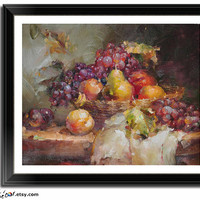 Textured Fruit/Still Life Painting, for kitchen or dinning room, Oil On Linen Canvas by Jim. Item code: QH101A.