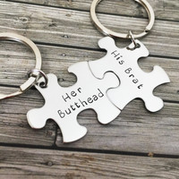NO LONGER OFFERING CHRISTMAS DELIVERY Her Butthead His Brat Couples Keychains, Couples Gift, Funny Christmas Gift