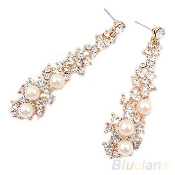 Fashion Elegant Luxury Pearl Rhinestone Dangle Chandelier Earrings Stud = 1958316612
