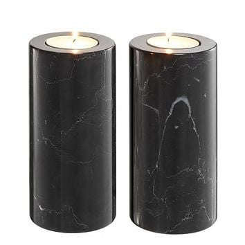 Black Marble Candle Holders 2 | Eichholtz Tobor L