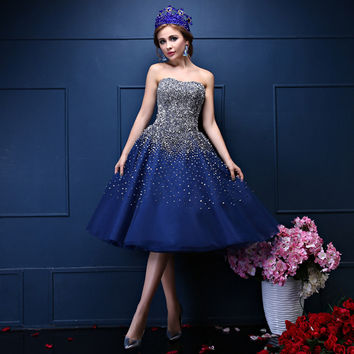 Cocktail Dresses Custom Made Organza Navy Blue Sweetheart Major Beading Tea-Length Formal Dresses Strapless Ball Gown Robe De