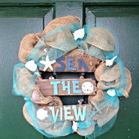 Summer wreath, beach wreath, seashell wreath, summer decor, beach decor, beach house decor