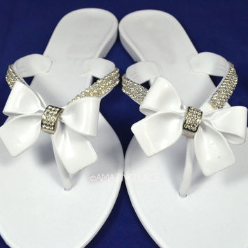 SZ 5 A Girl's Best Friend White Bow Sandals
