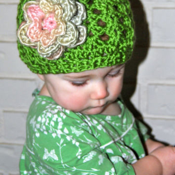 Crochet Baby Hat, Girls Crochet Hat, Spring Baby Girl Hat, Summer Hat, Toddler Girls Spring Hat with Crochet Flower, Spring Flower Beanie