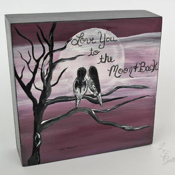 I Love You to the Moon and Back Painting Purple Love Bird Painting Love Birds Painting Wedding Gift Love Art Anniversary Gift for Couple Art
