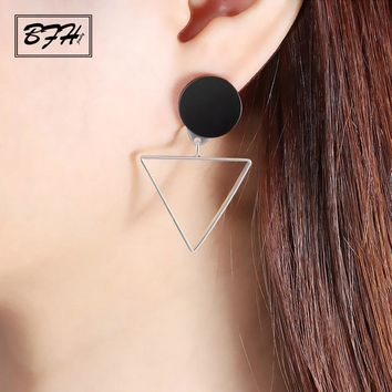 BFH Vintage Personality Asymmetrical Geometric Drop Earrings for Women Girl Charm Fashion Round Triangle Earring Jewelry Gift