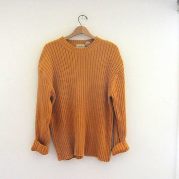 Vintage 80s golden mustard yellow chunky knit sweater // oversized long sweater // women's size XL