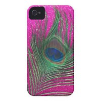Glittery Pink Peacock Feather Iphone 4 Tough Cases from Zazzle.com