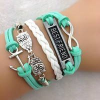 Anchor, Owl, Best Friend, & Infinity Bracelet
