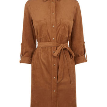 SUEDETTE SHIRT DRESS