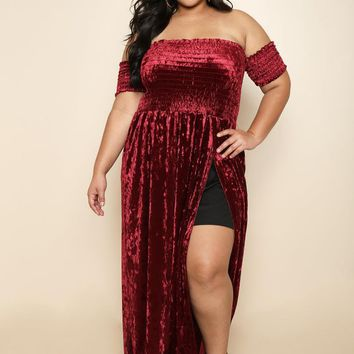 Velvet off Shoulder thigh high Slit Plus Size Maxi Dress
