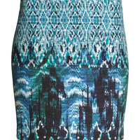 H&M - Woven Skirt - Blue/Patterned - Ladies