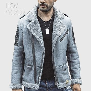 Winter warm men grey genuine leather real lambskin shearling biker pilot jacket