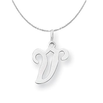 Sterling Silver, Sophia Collection, Small Script Initial V Necklace
