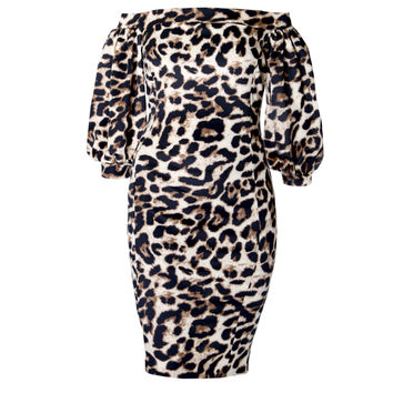 Bardot Puff Sleeve Dress, Animal Print
