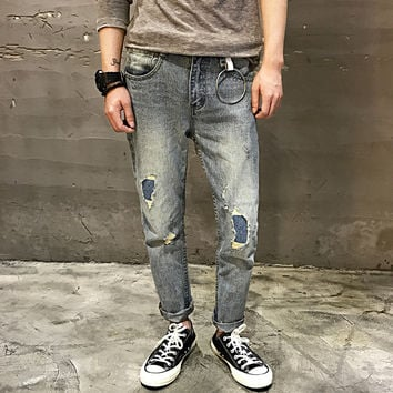 Men Jeans Summer Ripped Holes Baggy Jeans Cropped Pants [10271185923]