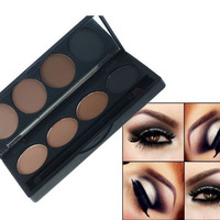 Color Eyebrow Makeup Powder Eyeshadow Palette Double End Brush 4 colors