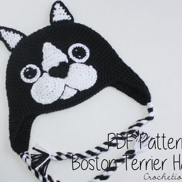 Crochet PATTERN - Boston Terrier Hat / Dog Breed Beanie, Puppy Hat, Dog Hat - PATTERN ONLY