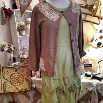 Lagenlook gypsy prairie mori girl tunic dress size MED 12