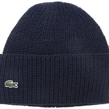Lacoste Men's Classic Pure Wool Cardigan Rib Knit Cap, Navy Blue/Navy Blue, One Size