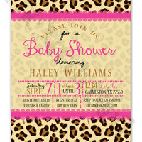 Pink Lace and Cheetah Print Background Printable Baby Girl Shower Invitation
