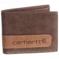 Carhartt Two-Tone Brown Leather Billfold Wallet w/ Wing