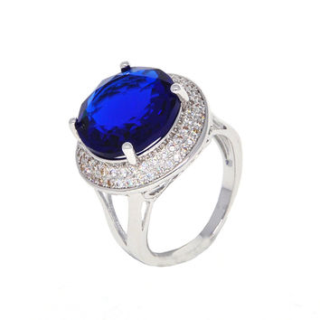 Dear Deer White Gold Plated Blue Cubic Zirconia Round Classic Cocktail Ring